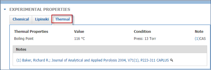 Experimental properties tab display in SciFinder