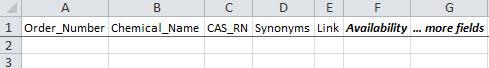 Example of a CHEMCATS substance data submission in Excel format