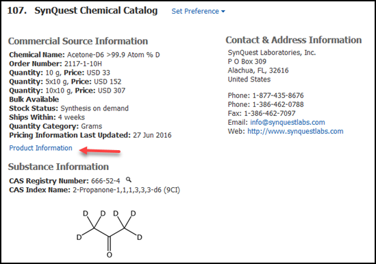 Example of a CHEMCATS source record showing substance information