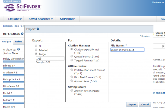 Screenshot of Export References from SciFinder