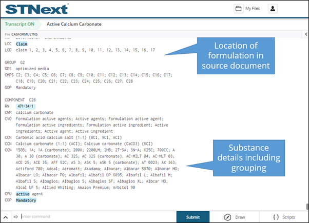 Source document location of formulation in STNext