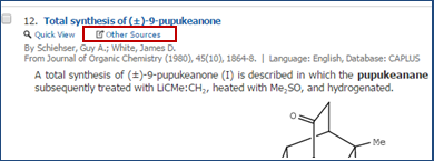 Screenshot of Other Sources option in Chemistry Class Advantage