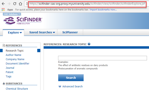 Example of a SciFinder proxy connection URL