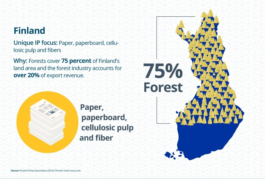 Finland: IP focus: paper, cellulosic pulp & fiber Why: Forests cover 75% of the land & forestry is 20% of export revenue