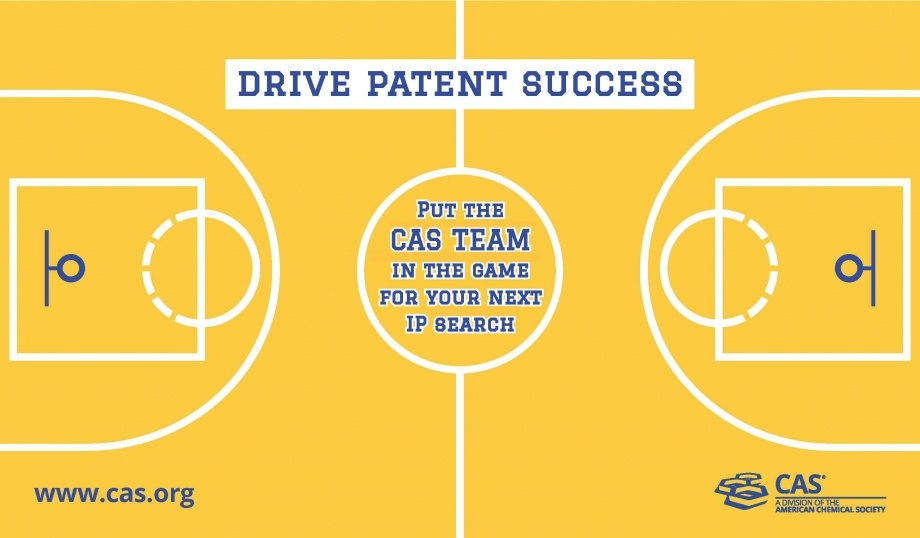 A basketball court diagram with the text 'drive patent success - put the CAS team in the game for your next IP search'